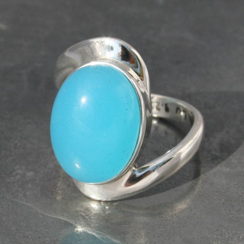Blue Chalcedony Oval Twist Ring