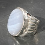Blue Lace Agate Lotus Ring
