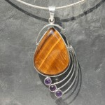Designer Wire Tiger's Eye Pendant 1