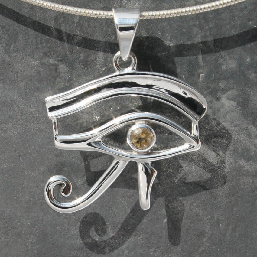 Eye of horus pendant with citrine lumina jewellery eye of horus large with citrine mozeypictures Image collections