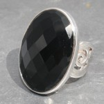 Onyx Oval Faceted ring , size p/ US size 7.5