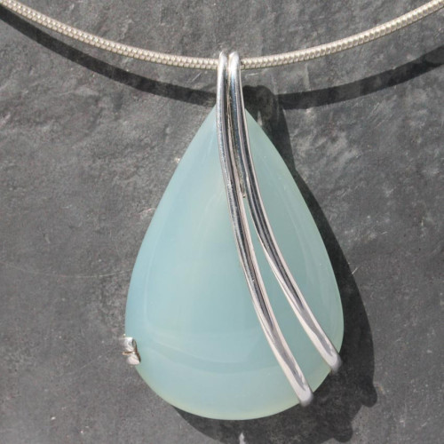 Sterling silver wrap Blue Chacedony pendant