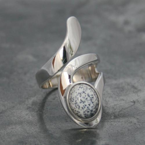 Opal dendrite Snake Ring