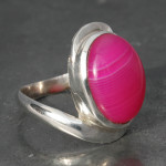 Pink agate twist ring a
