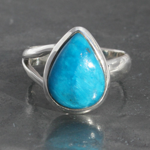 Polish Cavansite teardrop ring , adjustable , handmade and fairtrade