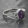 Oval amethyst heart ring set in sterling silver 925 handmade and fair-trade