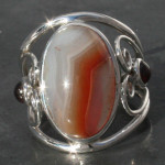 Botswana Agate designer heart  with tourmaline ring with sterling silver 925, handmade and fair-trade