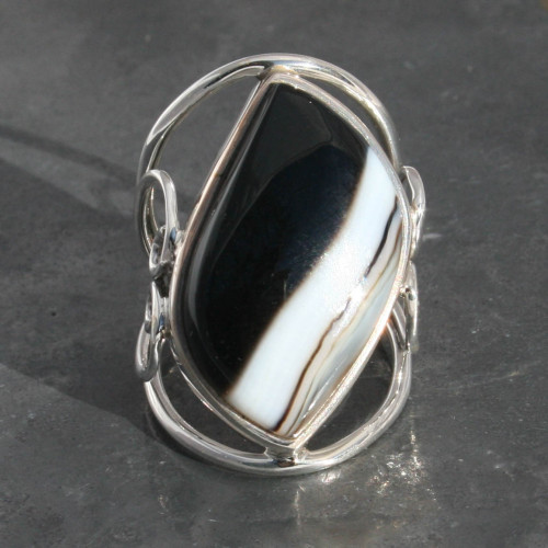 Sard Onyx heart design ring sterling silver, handmade and fair-trade