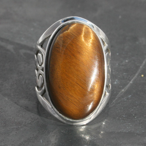 Tiger's eye ring filgree design set in sterling silver, handmade and fairtrade