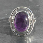 Amethyst ring set i sterling silver 925 handmade and fair trade . Amethyst from brazil . size 14