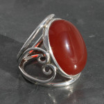 Carnelian Ring set in sterling silver 925 , handmade and fairtrade
