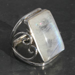 Beautiful rainbow Moonstone ring designer heart ring, sterling silver 925, handmade and fair-trade