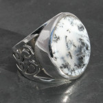 Merlinite or opal dendrite ring , sterling silver 925, handmade and fair- trade