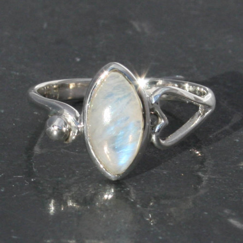 Moonstone heart ring