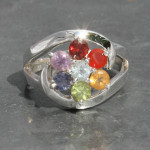 Chakra faceted ring with swish