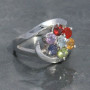 Chakra faceted ring with swish side