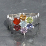 Chakra faceted ring with wave front