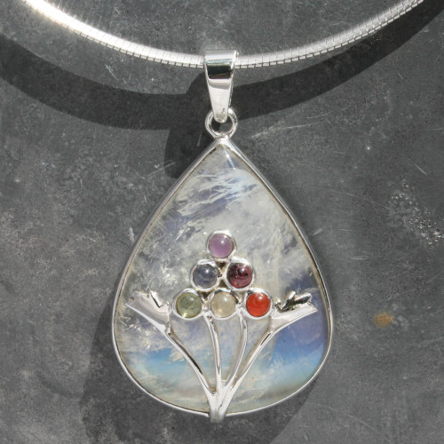 Chakra moonstone pendant