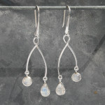 2 drop moonstone earring