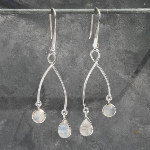 2 drop moonstone earring