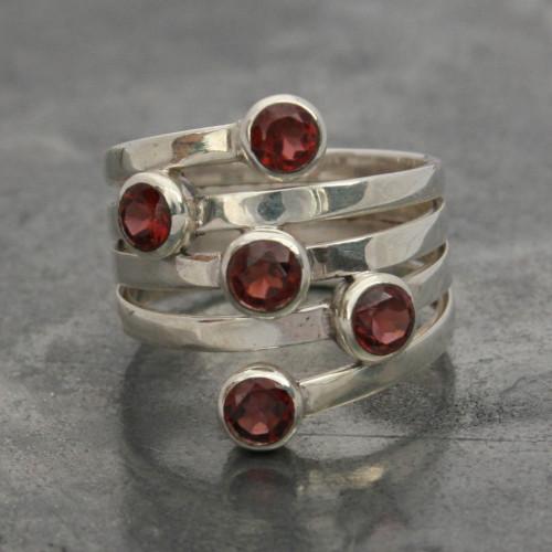 Garnet 5 stone ring a
