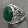 Green onyx ring wire heart side