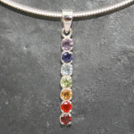 Chakra faceted stone pendant