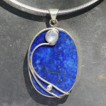 Lapiz with moonstone pendant wire work