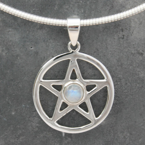 Medium Pentagram with moonstone