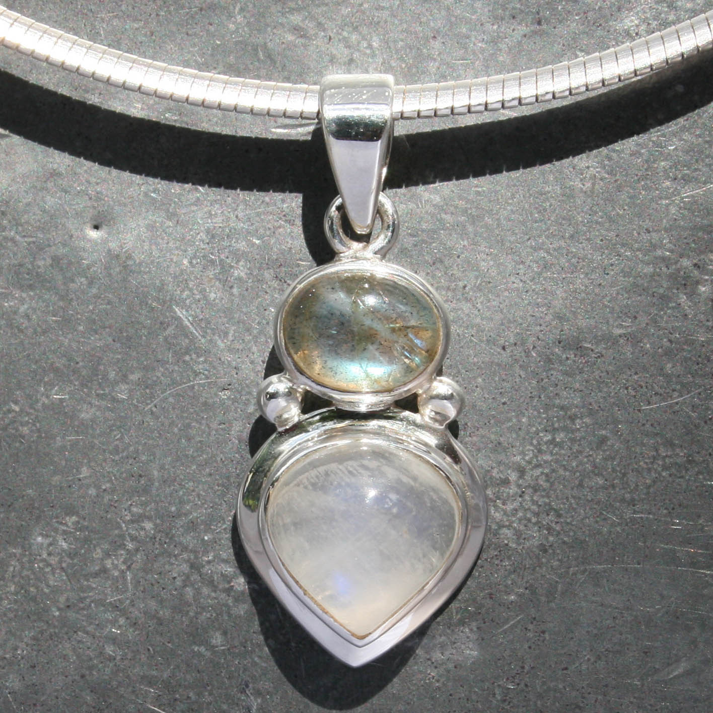sterling blue moon shape bohomian bjp products pendant healing stone silver rainbow moonstone flash pear pure a rm