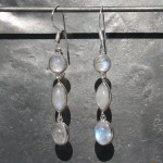 Earrings 3 stone Moonstone Drop