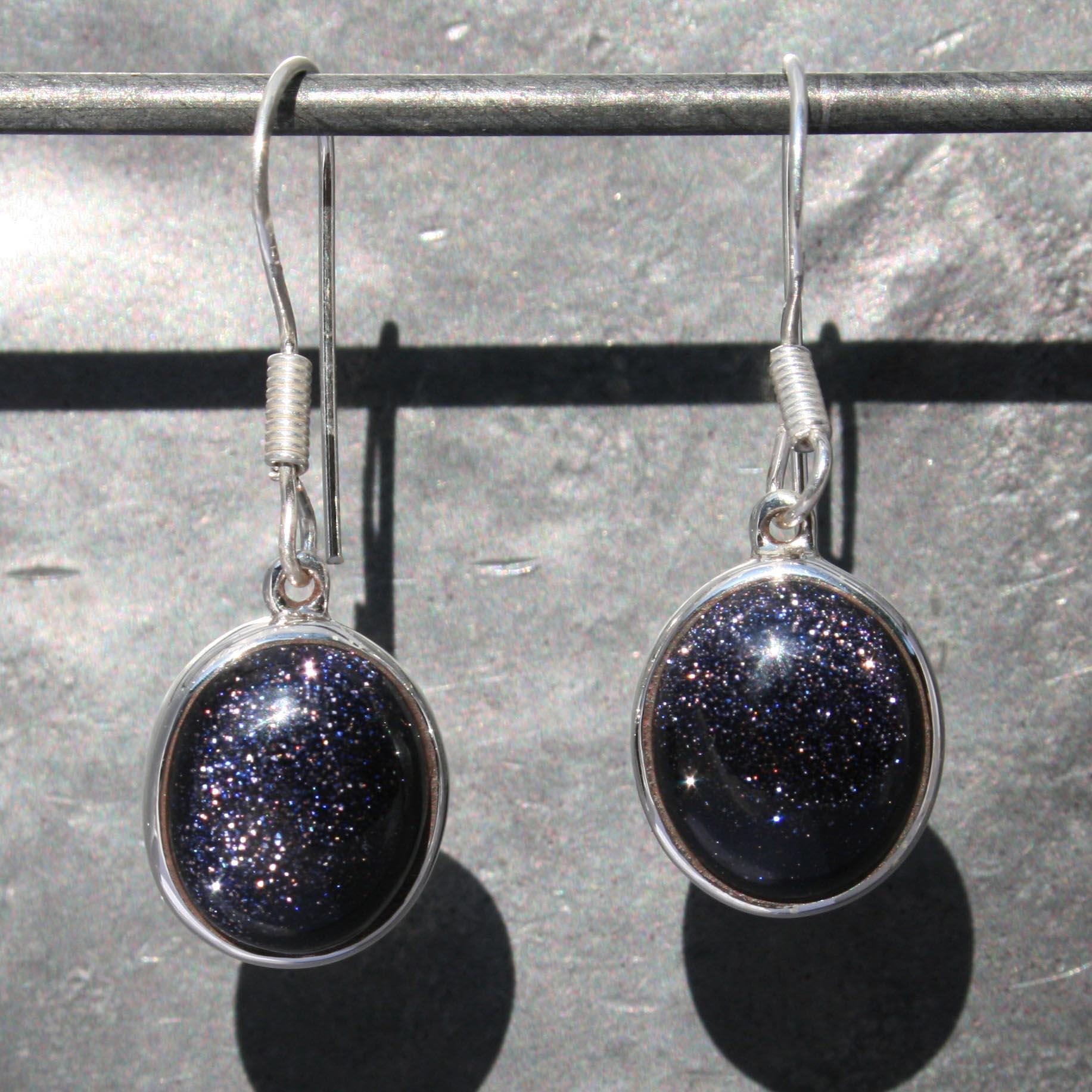 Earrings Blue Goldstone Oval