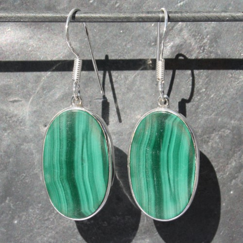 Earrings Malachite Oval