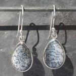 Earrings Opal dendrite