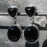 Earrings stud Black Onyx 1