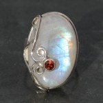 Moonstone Wire Work  with Garnet Ring