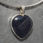 Blue Goldstone Heart Pendant