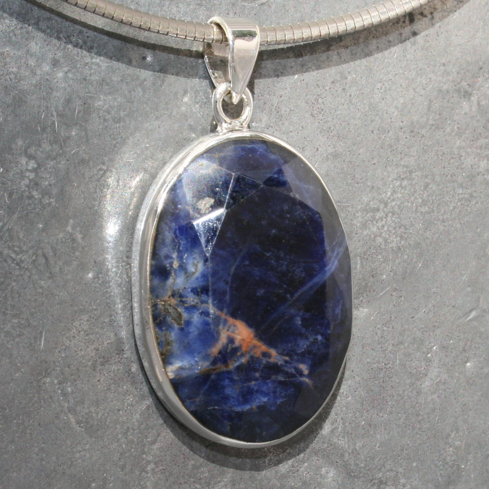 Sodalite with hematite pendant faceted lumina jewellery sodalite with hematite pendant faceted aloadofball Images