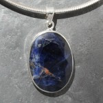 Sodalite with hematite Pendant Faceted