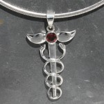 Caduceus Pendant with Garnet