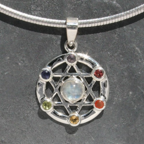 Chakra Star of David Pendant
