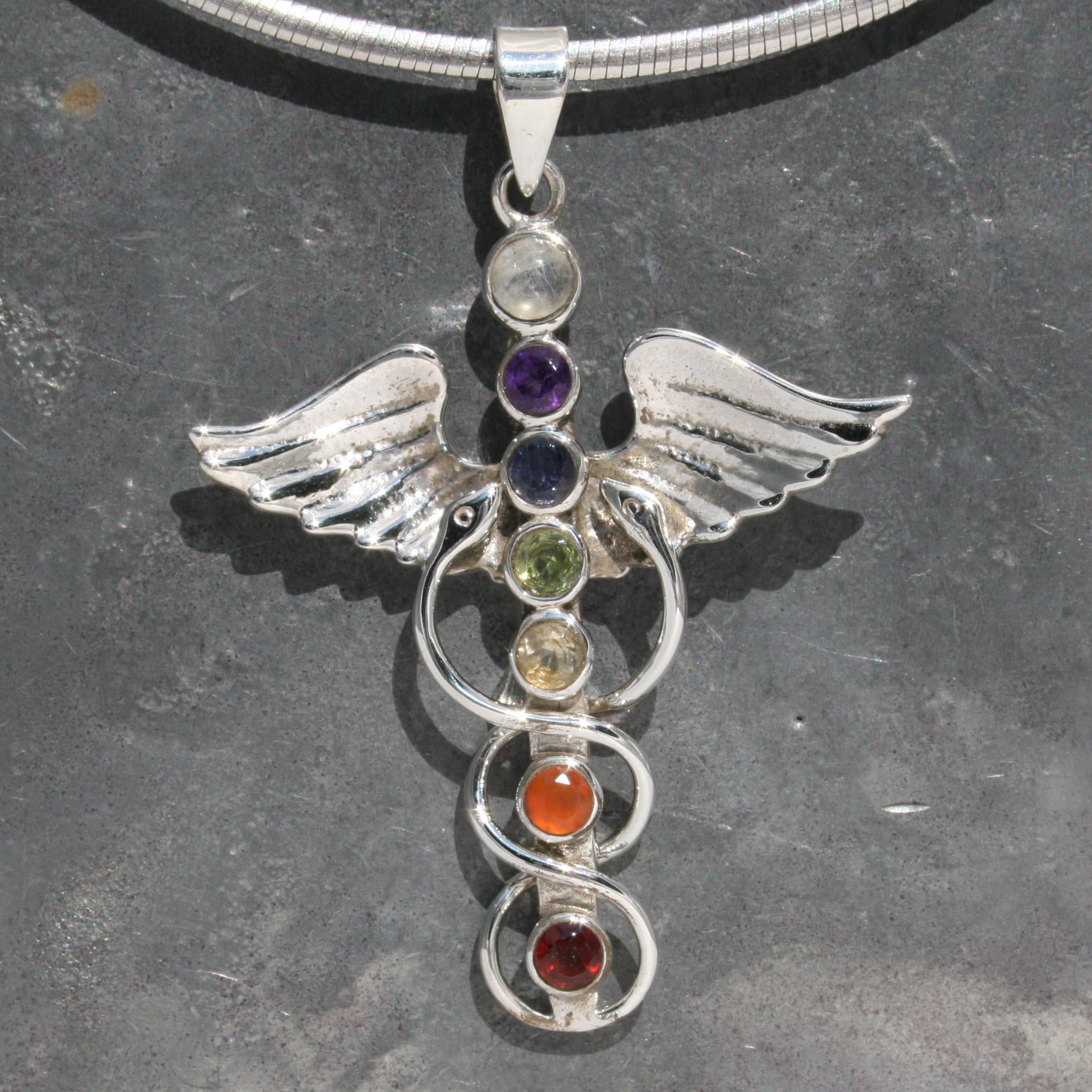 Chakra caduceus pendant lumina jewellery 7 chakra caduceus pendant mozeypictures Image collections