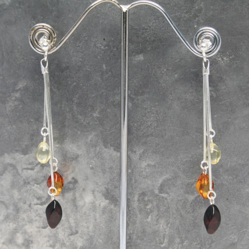 3 drop 3 colour Amber Earring