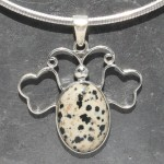 Dalmation Jasper Butterfly Pendant