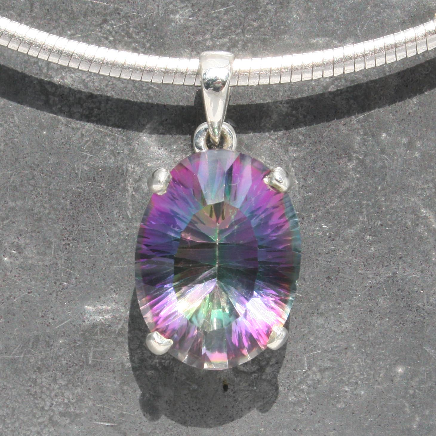 mystic faceted sterling rainbow glow pin in gemstone includes chain topaz silver pendant