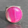 Pink Agate round half moon ring