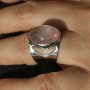 Rose Quartz Half moon ring 1