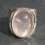 Rose Quartz Half moon ring