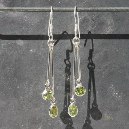 Peridot 2 drop Earrings