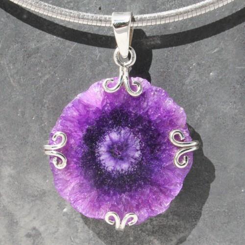 Purple Crystal Flower Pendant